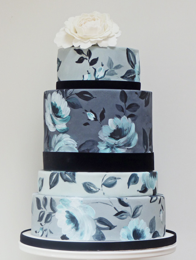 Hand Painted Wedding Cakes  white smile Wedding Trends Hand Painted Cakes