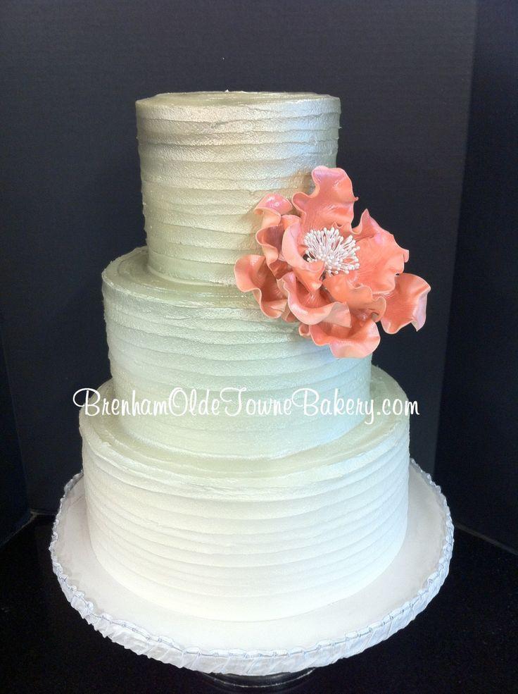 Haydels Wedding Cakes  metallic ombre rustic buttercream wedding cake