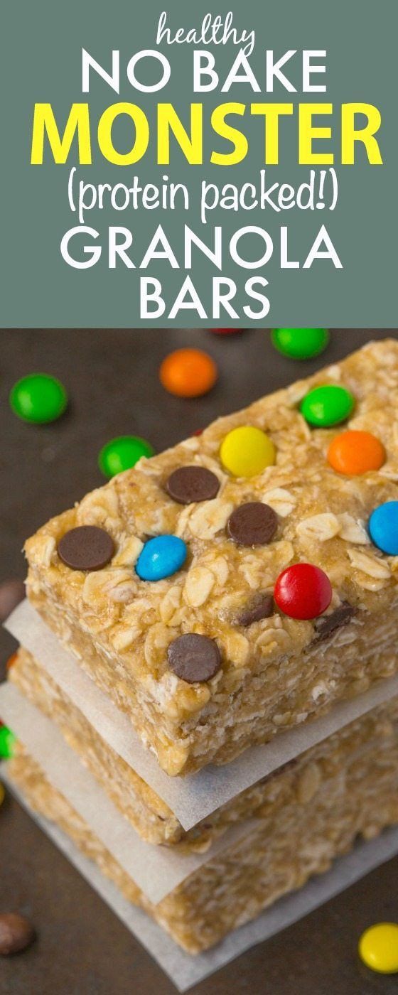 Healthy And Easy Snacks  Healthy NO BAKE Monster Cookie Protein Bars Quick and