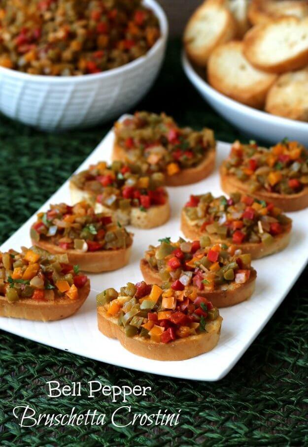 Healthy Appetizers For A Crowd  Bell Pepper Bruschetta Crostini Recipe