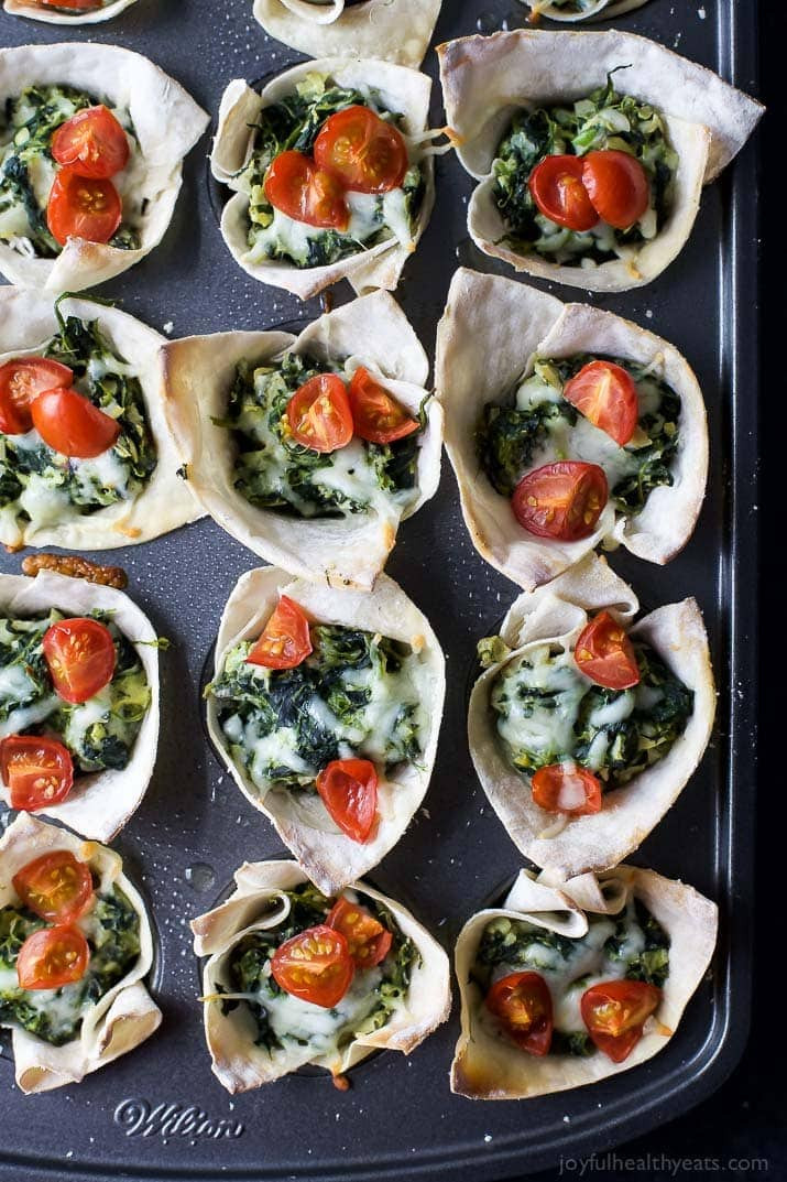 Healthy Appetizers For A Crowd  Spinach Artichoke Dip Wonton Bites