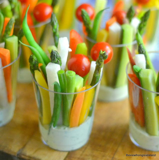 Healthy Appetizers For A Crowd  Veggie Dip Cups with Green Goddess Dip Recipe