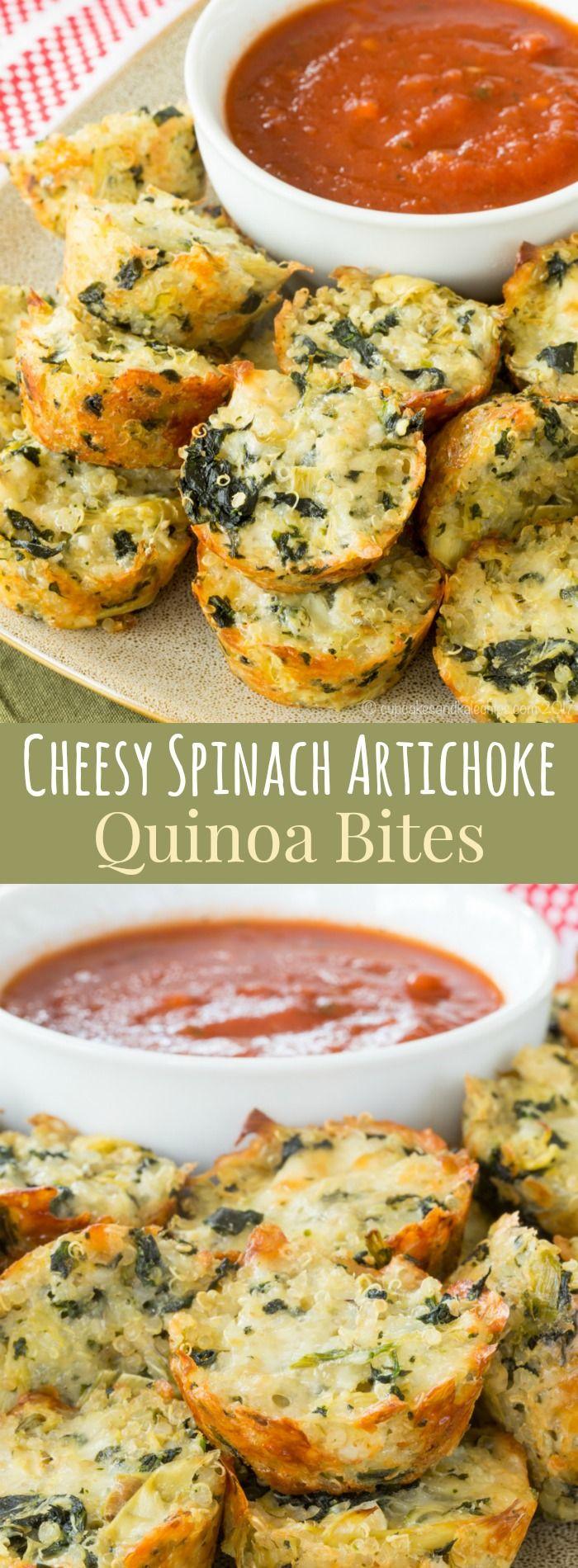 Healthy Appetizers Recipes  Cheesy Spinach Artichoke Quinoa Bites Recipe