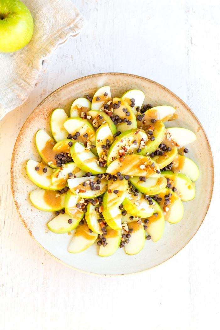 Healthy Apple Nachos  Healthy Apple Nachos with Date Caramel Sauce Eating Bird