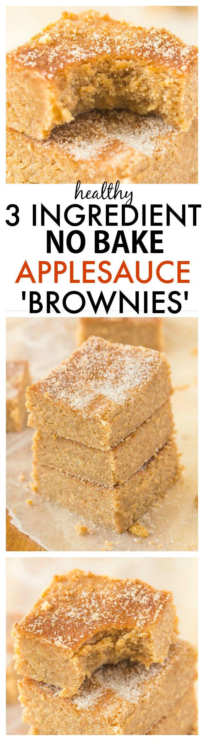 Healthy Applesauce Brownies  Healthy No Bake Applesauce Brownies with just 3