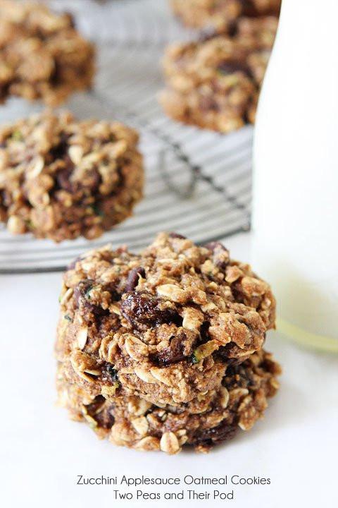 Healthy Applesauce Cookies  Zucchini Applesauce Oatmeal Cookies