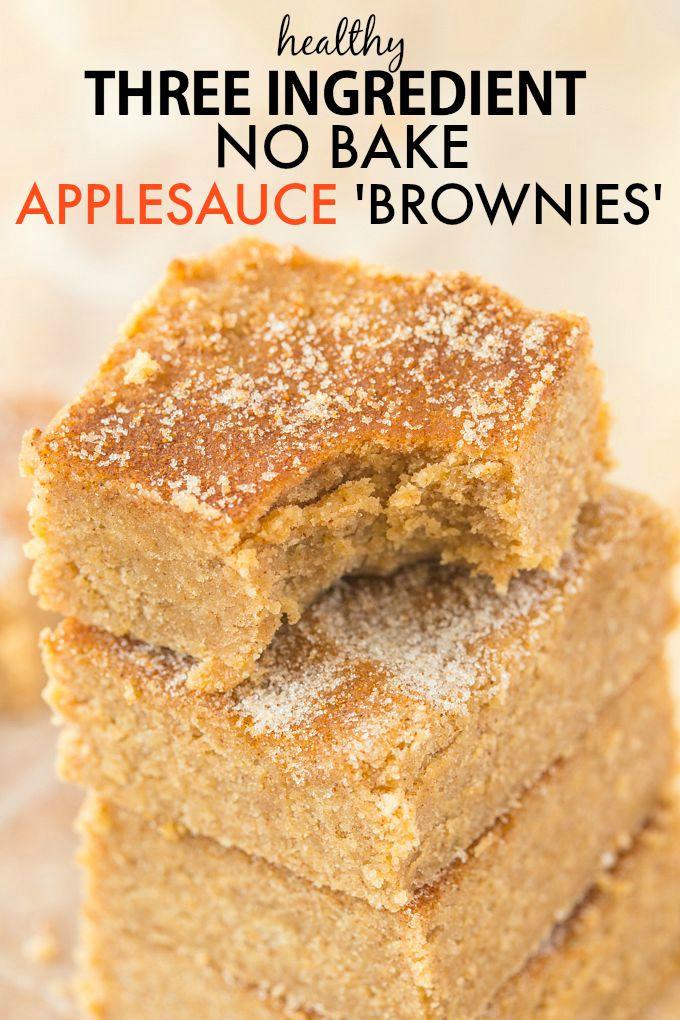 Healthy Applesauce Recipe  3 Ingre nt No Bake Applesauce Brownies Paleo Vegan