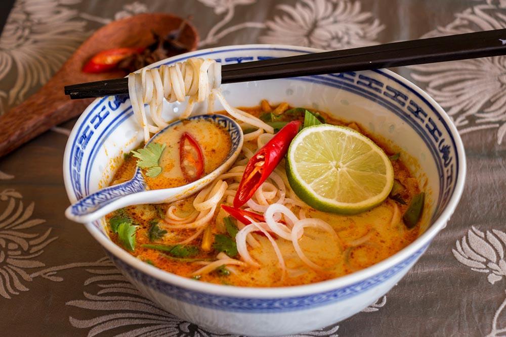 Healthy Asian Soup Recipes  Spicy coconut noodle soup