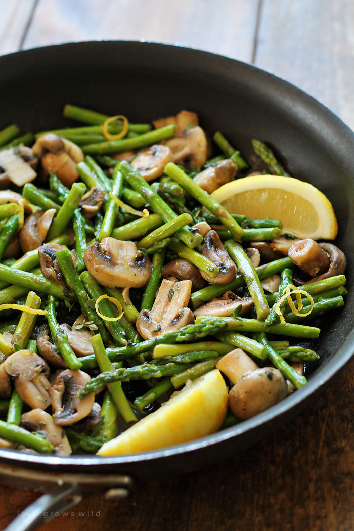 Healthy Asparagus Recipes  Asparagus and Mushrooms in Lemon Thyme Butter Love Grows