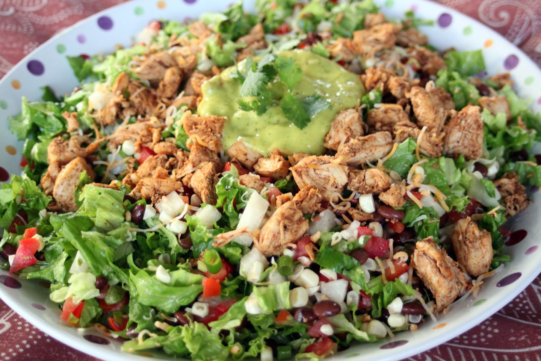 Healthy Avocado Chicken Salad  Mexican Healthy Salad with Mango and Avocado Dressing