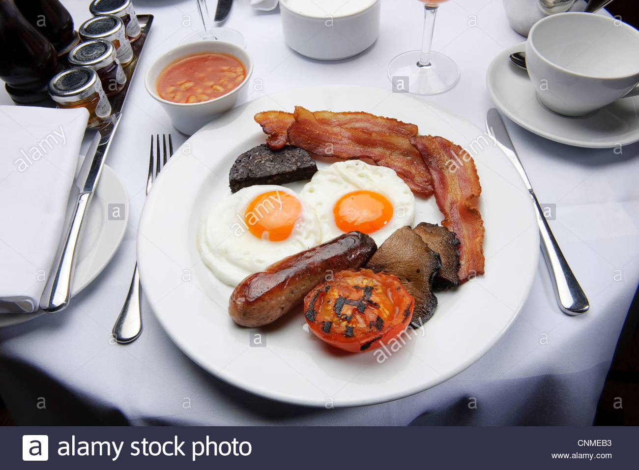Healthy Bacon Breakfast  full english breakfast bacon and eggs fry up in restaurant