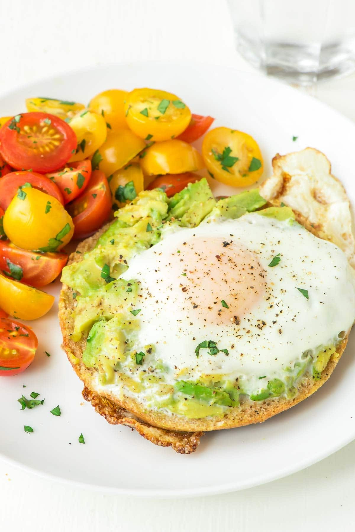 Healthy Bagel Breakfast  Bagel Egg in a Hole with Smashed Avocado