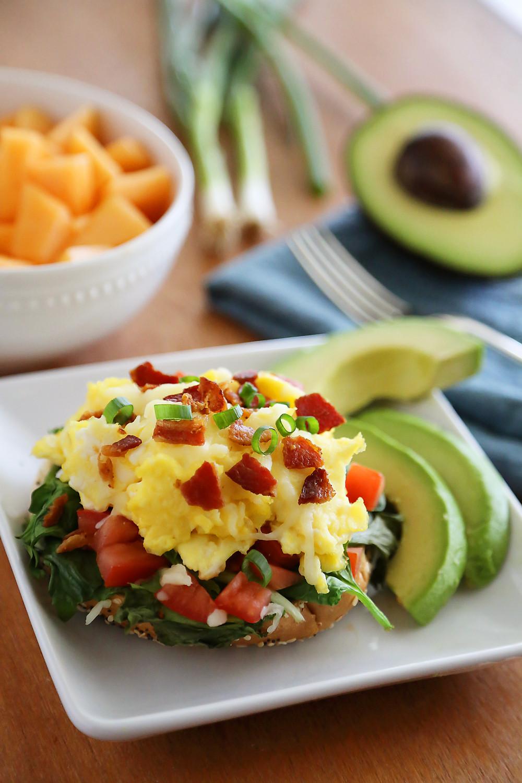 Healthy Bagel Breakfast  Open Faced Bagel Breakfast Sandwich