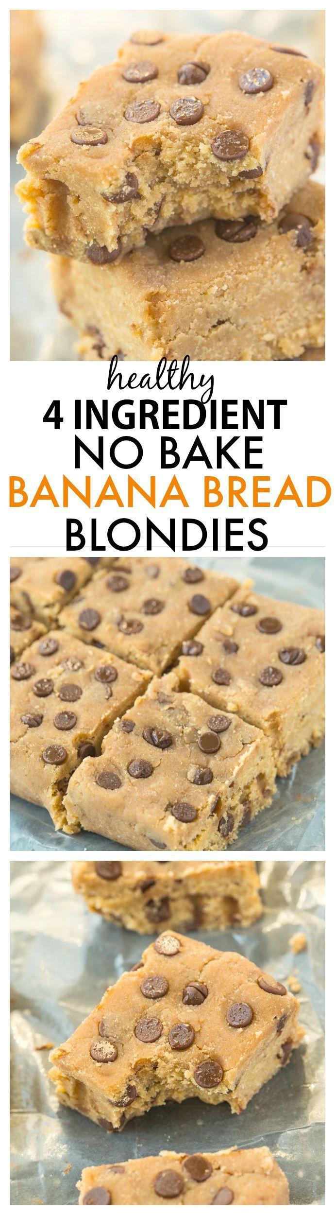Healthy Bake Bread  Four Ingre nt No Bake Banana Bread Blon s