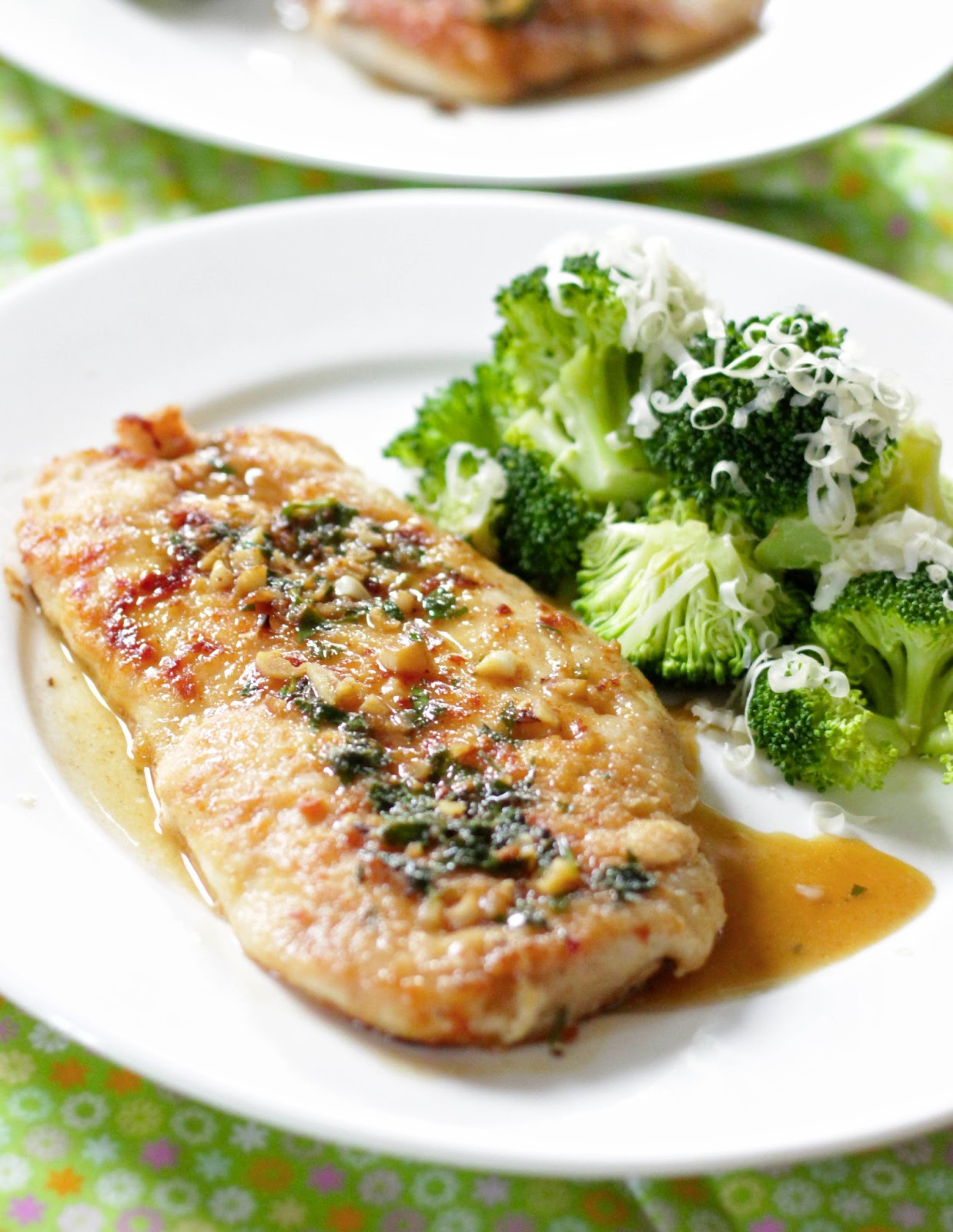 Healthy Baked Chicken Cutlets  Parsley and garlic chicken cutlets with broccoli