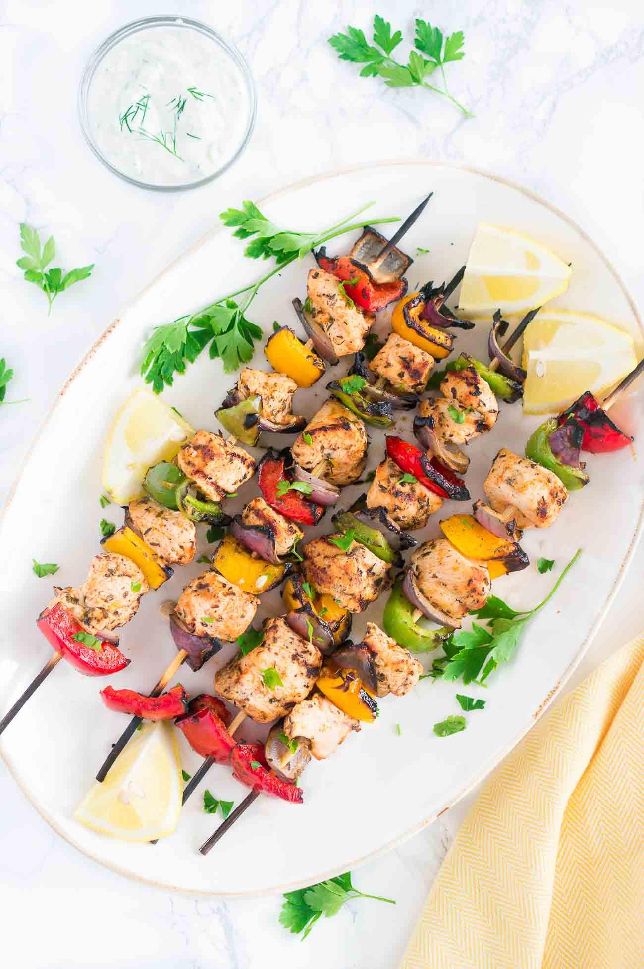Healthy Baked Chicken Marinade  Grilled Mediterranean Chicken Kebabs