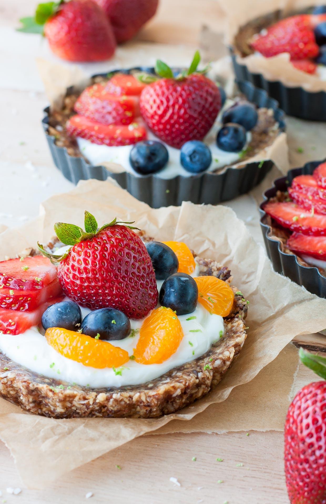Healthy Baked Desserts  Healthy No Bake Coconut Lime Fruit and Yogurt Tarts Peas