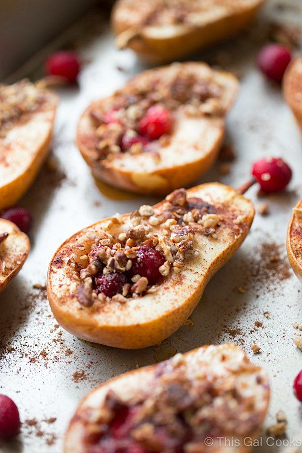 Healthy Baked Desserts  Baked Pears with Honey Cranberries and Pecans