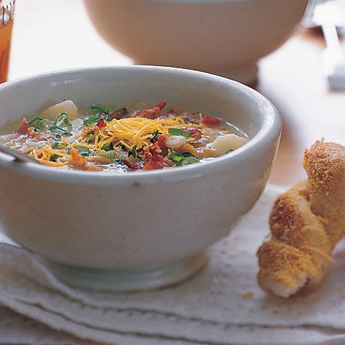 Healthy Baked Potato Soup  Baked Potato and Bacon Soup forting Potato Soup