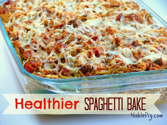 Healthy Baked Spaghetti  Healthier Spaghetti Bake VIDEO