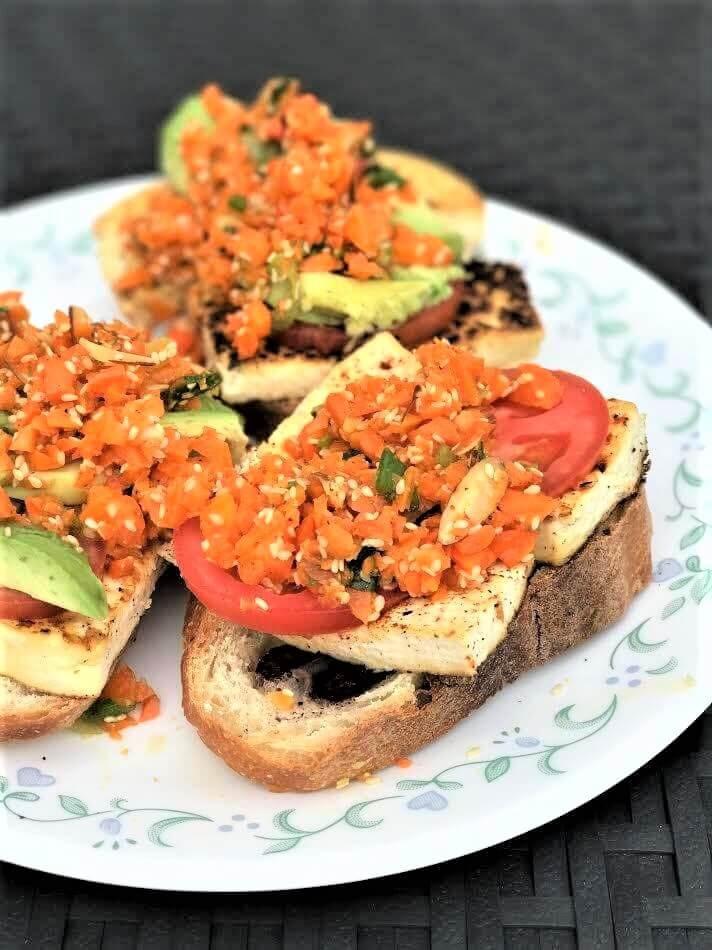 Healthy Baked Tofu Recipes  Carrot Slaw and Baked Tofu Crostini Recipe HealthyGreenSavvy
