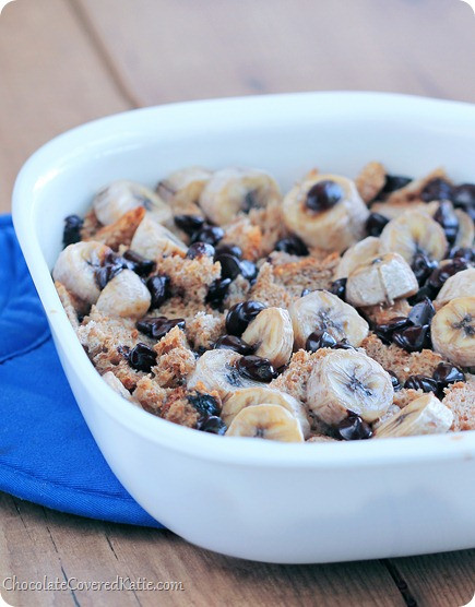 Healthy Banana Bread Pudding  Clean Eating Chocolate Chip Bread Pudding