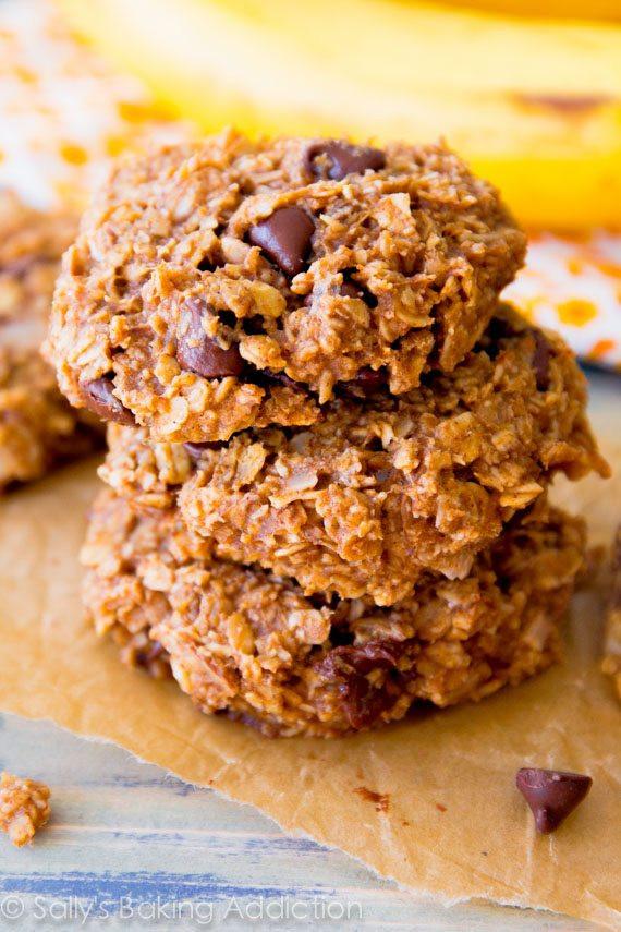 Healthy Banana Chocolate Chip Cookies  Flourless Peanut Butter Brownie Cookies Sallys Baking