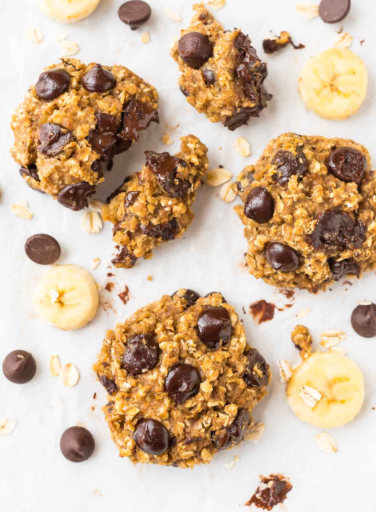 Healthy Banana Chocolate Chip Cookies  Healthy Banana Oatmeal Cookies with Chocolate Chips