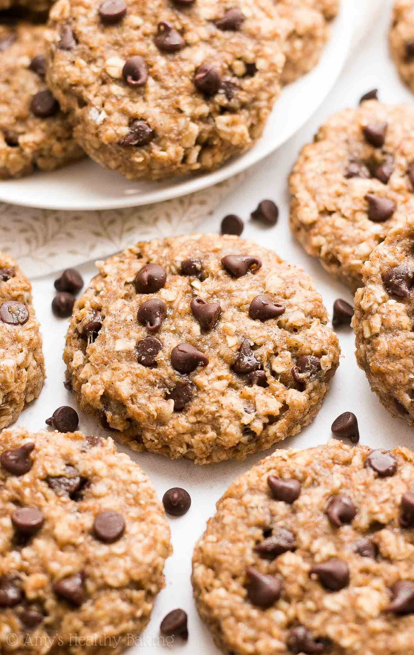 Healthy Banana Chocolate Chip Cookies  Healthy Chocolate Chip Banana Oatmeal Breakfast Cookies