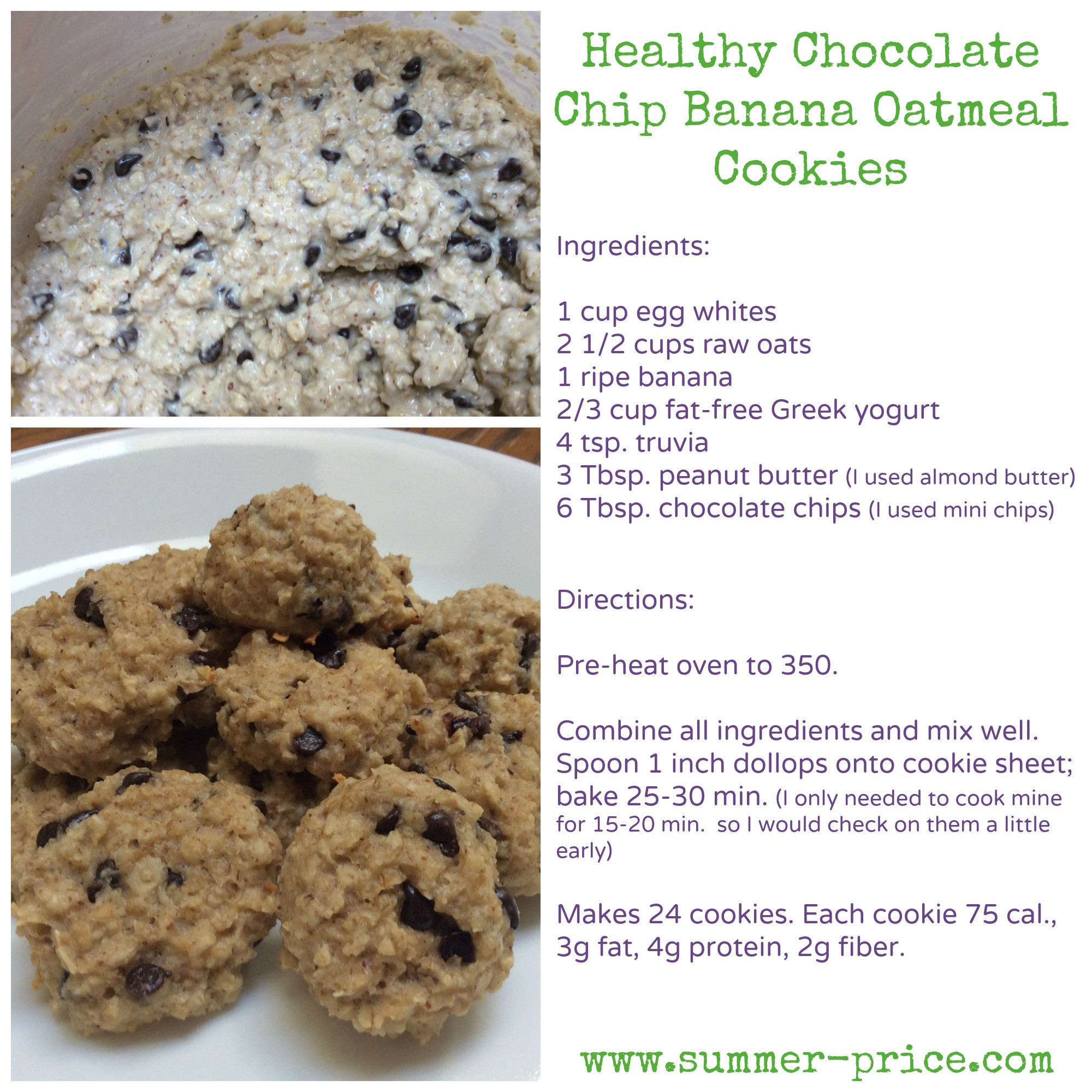 Healthy Banana Chocolate Chip Cookies  Healthy Chocolate Chip Banana Oatmeal Cookies Summer Price