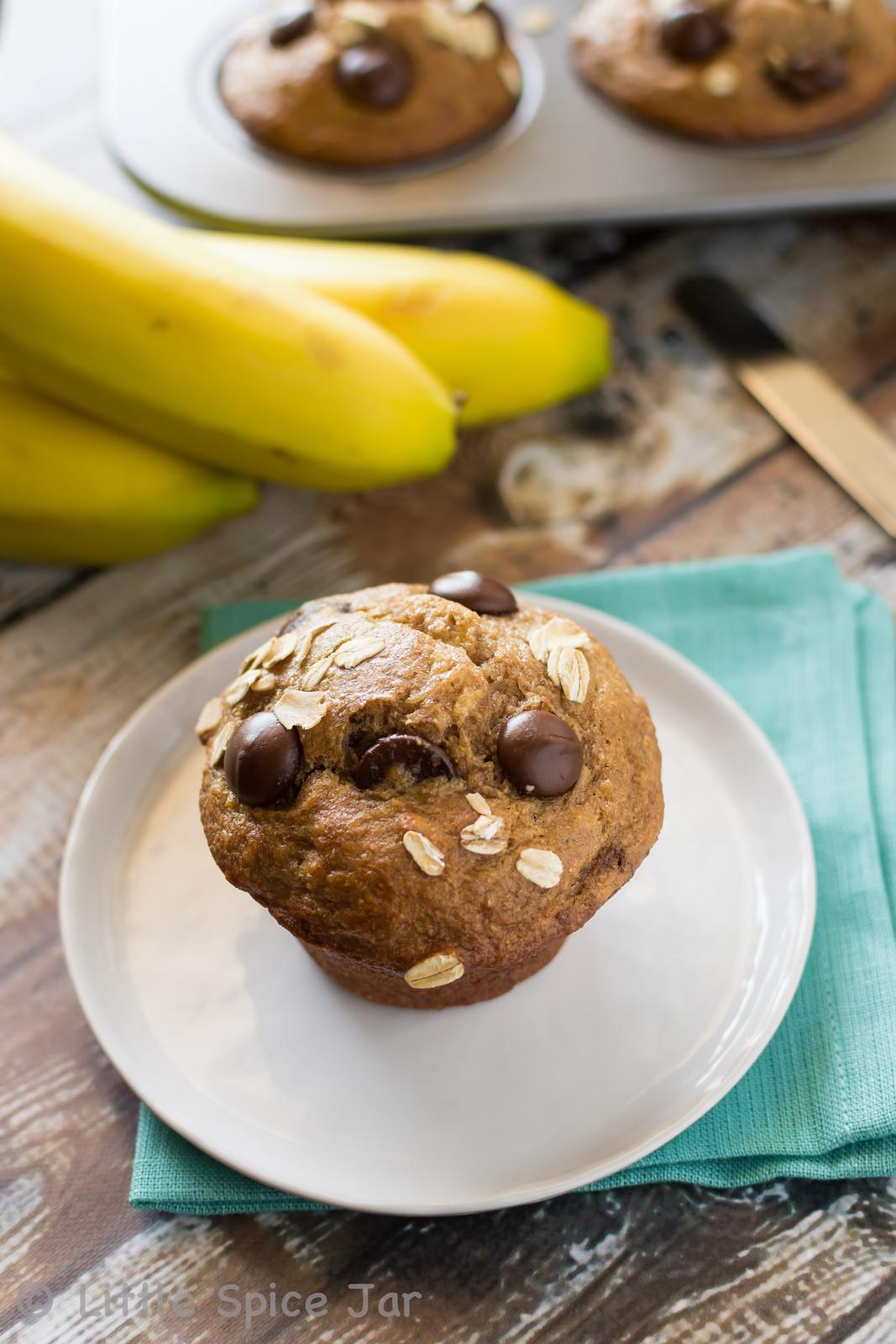 Healthy Banana Chocolate Chip Muffins  HEALTHY CHOCOLATE CHIP BANANA MUFFINS