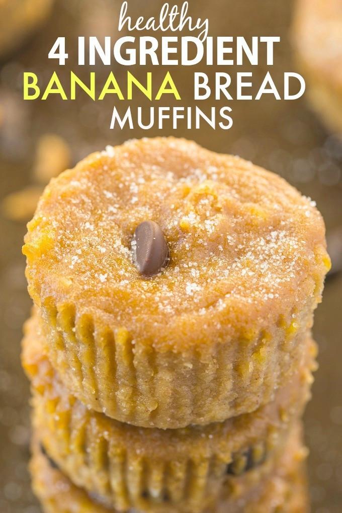 Healthy Banana Muffin Recipes  Healthy 4 Ingre nt Banana Bread Muffins Paleo Vegan