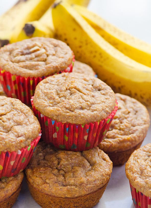 Healthy Banana Muffins With Applesauce  Healthy Banana Muffins iFOODreal Healthy Family Recipes