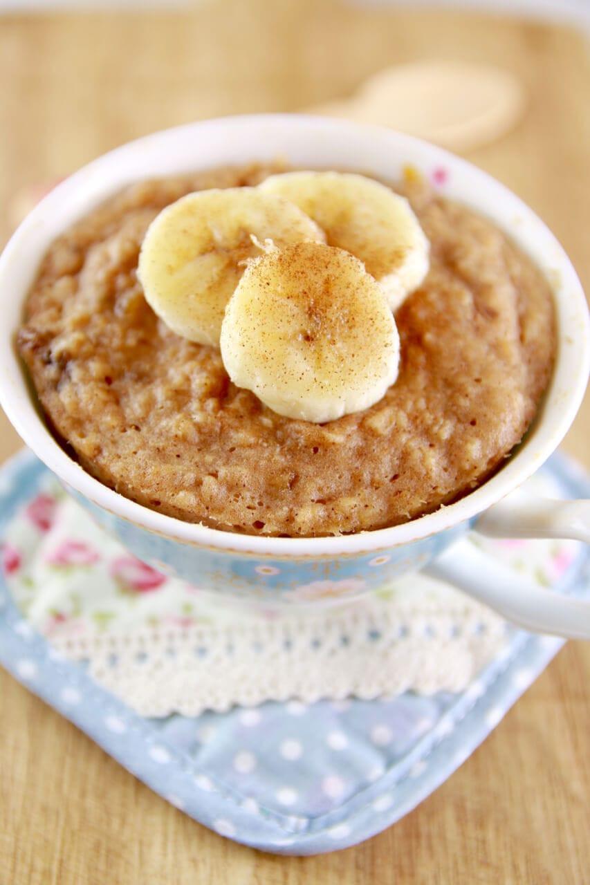 Healthy Banana Mug Cake  Microwave Peanut Butter & Banana Mug Cake Bigger Bolder
