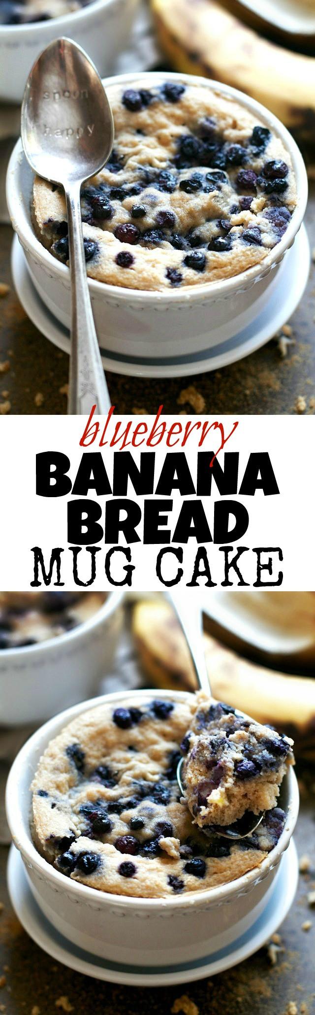 Healthy Banana Mug Cake  Blueberry Banana Bread Mug Cake