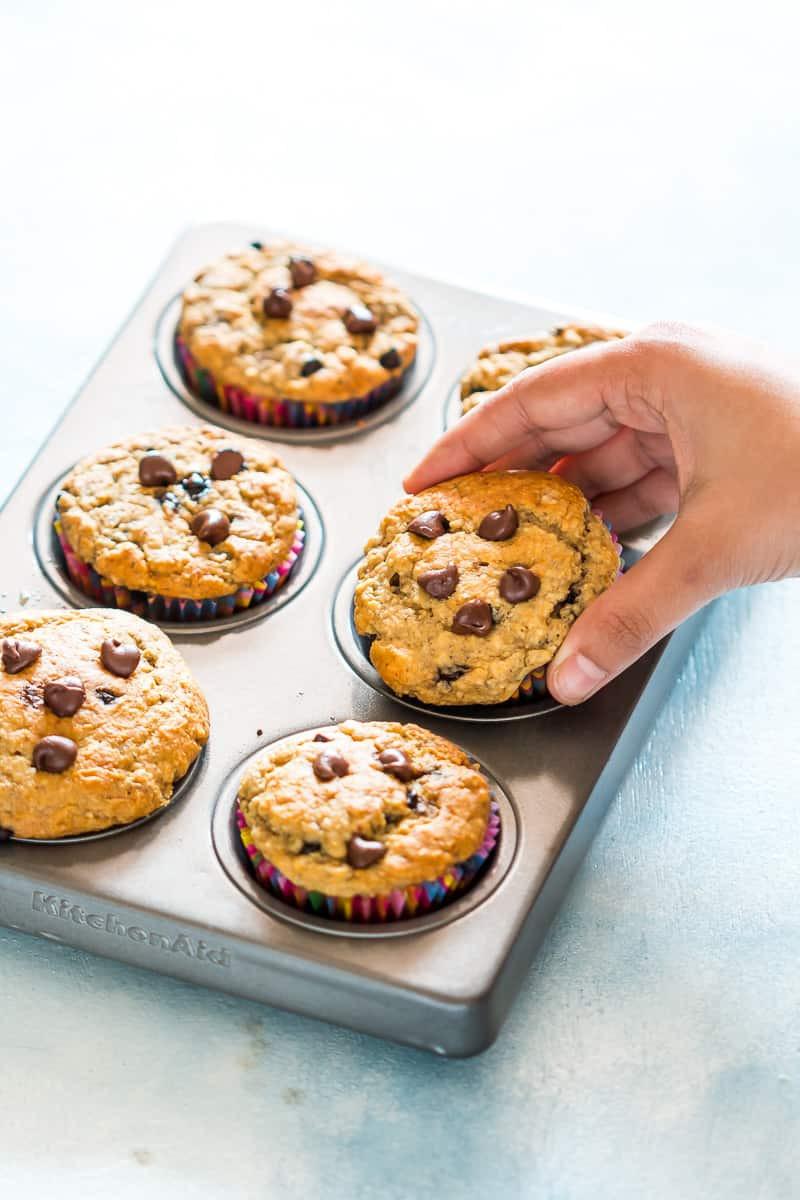 Healthy Banana Oatmeal Chocolate Chip Muffins  Healthy Oatmeal Banana Chocolate Chip Muffins