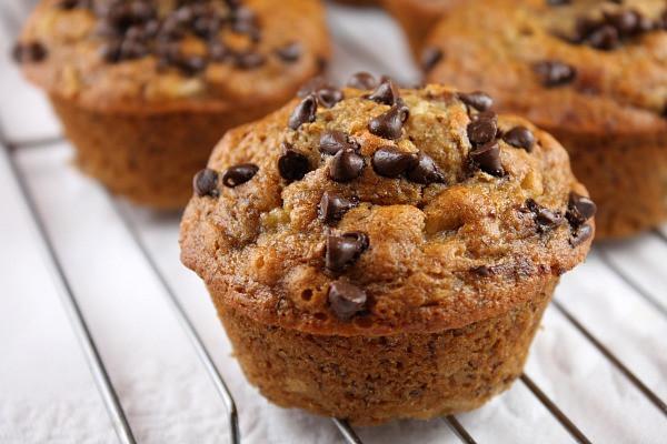 Healthy Banana Oatmeal Chocolate Chip Muffins  Honey Sweetened Low Fat Banana Chocolate Chip Muffins