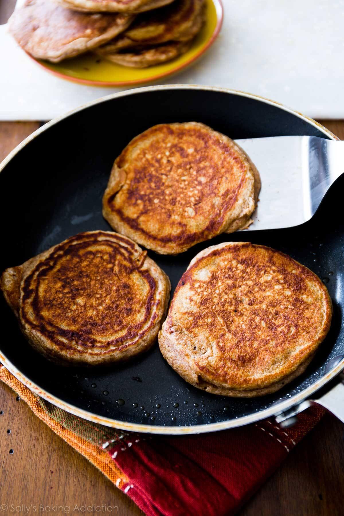 Healthy Banana Pancakes  Whole Wheat Banana Pancakes Sallys Baking Addiction