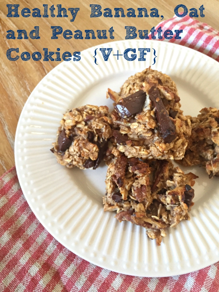 Healthy Banana Peanut Butter Cookies  Healthy Banana Oat and Peanut Butter Cookies Vegan
