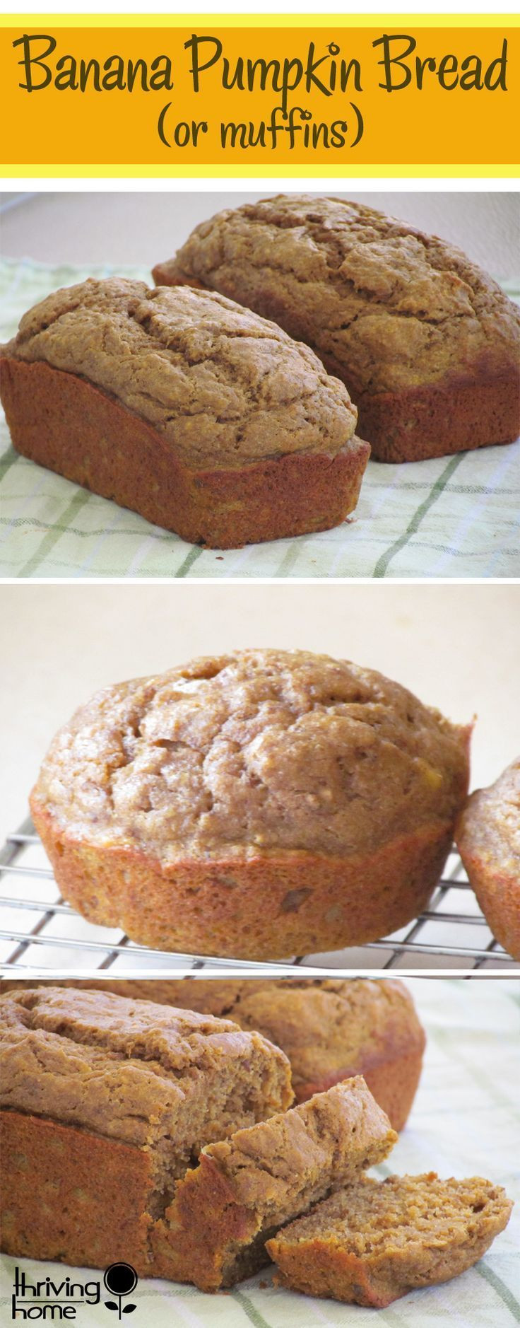 Healthy Banana Pumpkin Bread With Applesauce  Banana Pumpkin Bread or Muffins Recipe