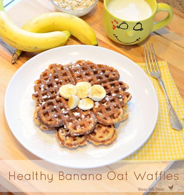 Healthy Banana Waffles  Healthy Banana Waffle Bless This Mess