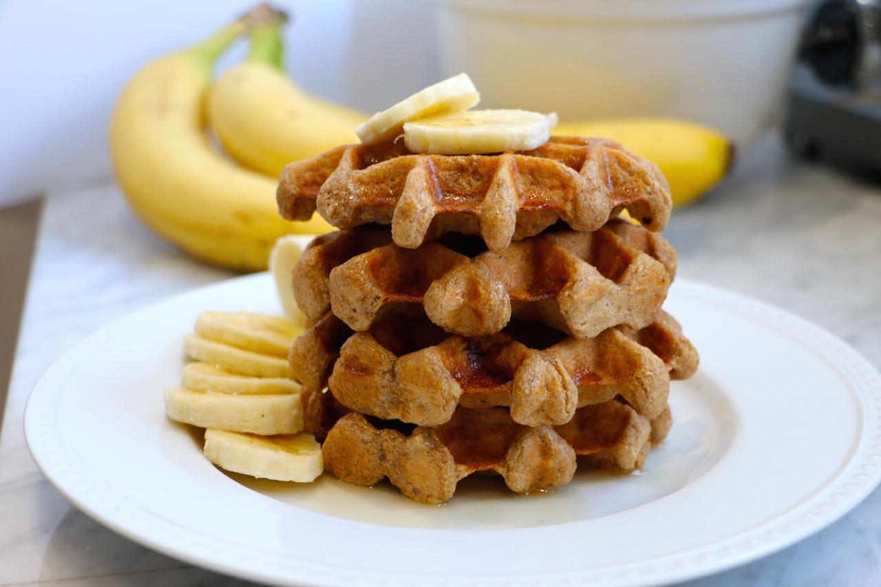 Healthy Banana Waffles  Gluten Free Banana Belgian Waffles Whitney E RD