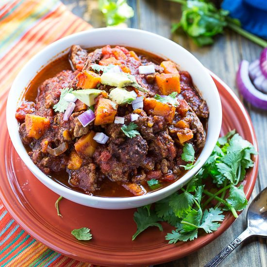 Healthy Beef Chili Recipe  Sweet Potato And Beef Chili Recipe Potatoes Chilis Chilis