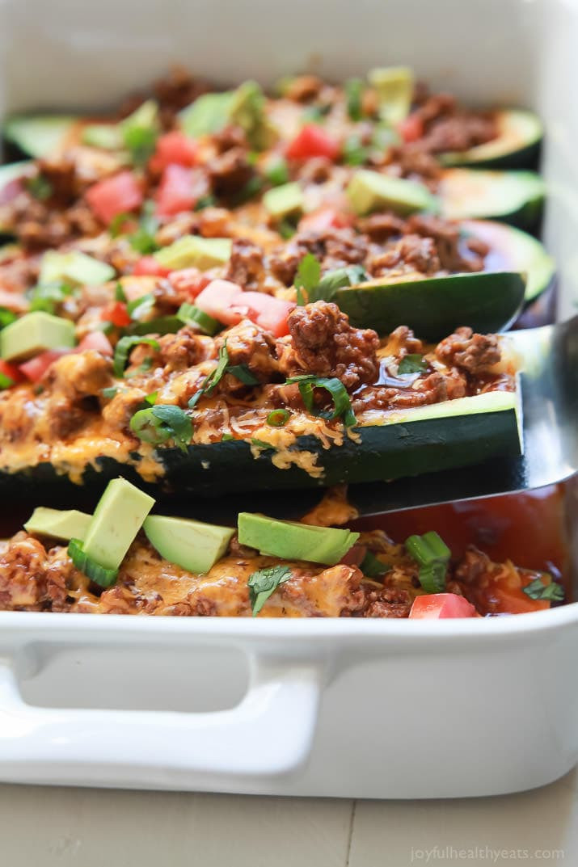 Healthy Beef Enchiladas  Ground Beef Enchilada Zucchini Boats