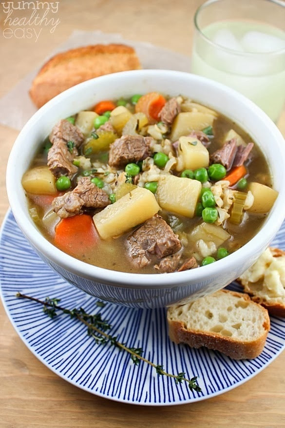 Healthy Beef Soup  The Best Ever Slow Cooker Ve able Beef Barley Soup