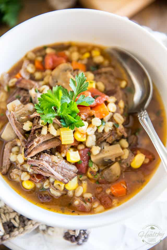 Healthy Beef Soup  forting Beef and Barley Soup • The Healthy Foo