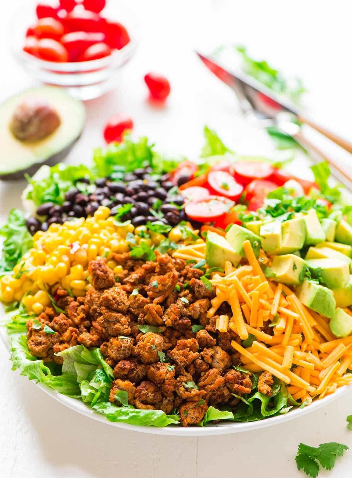 Healthy Beef Taco Salad  Skinny Taco Salad with Ground Turkey and Avocado
