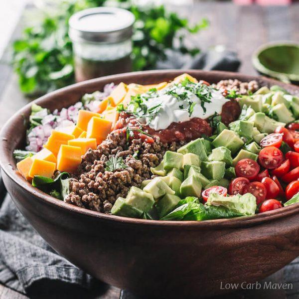 Healthy Beef Taco Salad  Low Carb Taco Salad