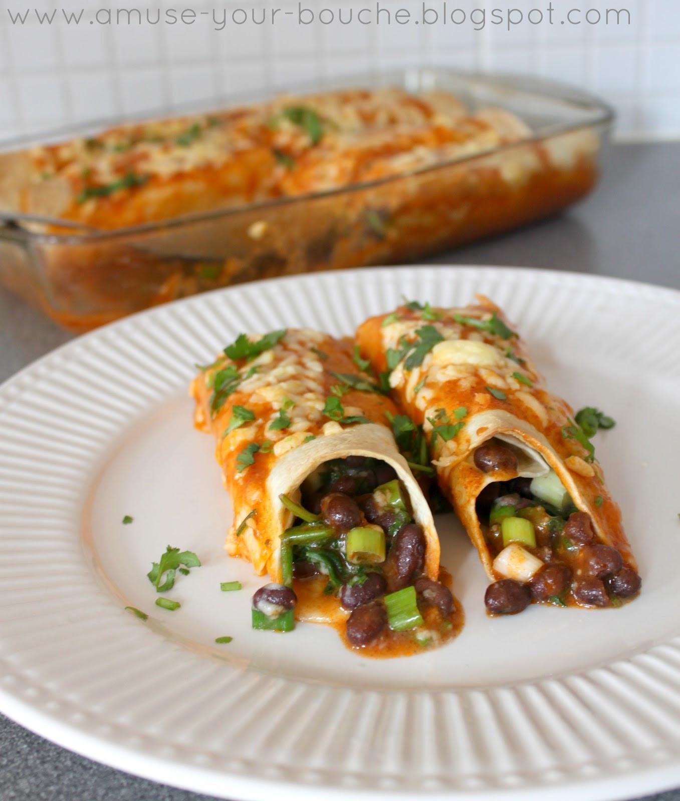 Healthy Black Bean Enchiladas  Spinach and black bean enchiladas with homemade sauce