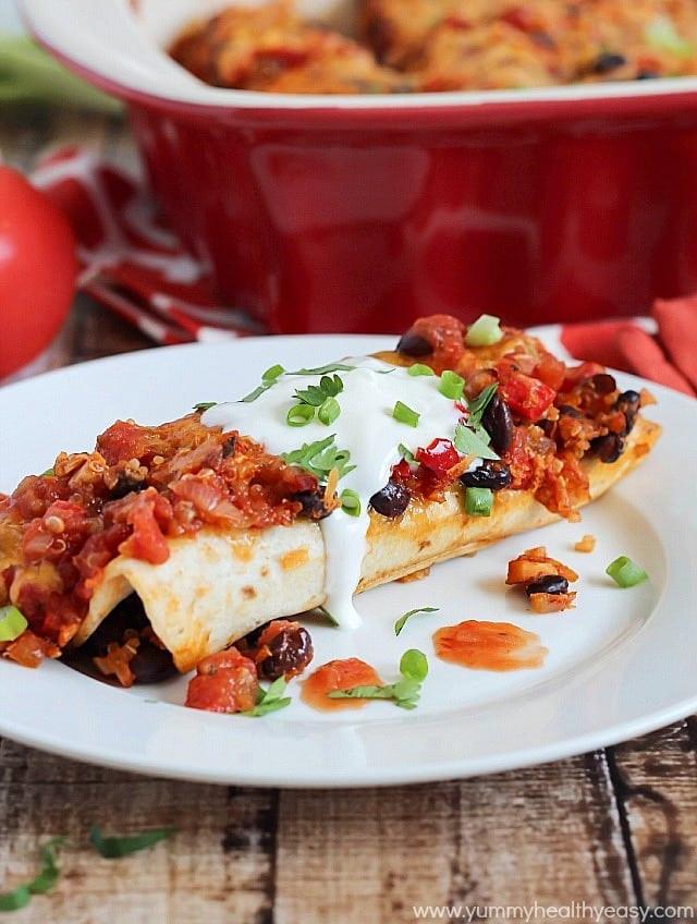 Healthy Black Bean Enchiladas  Chicken Black Bean & Quinoa Enchiladas Yummy Healthy Easy